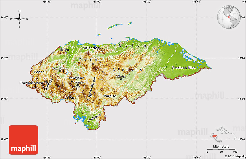 Physical Map of Honduras cropped outside