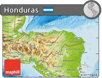 Free Physical Map of Honduras