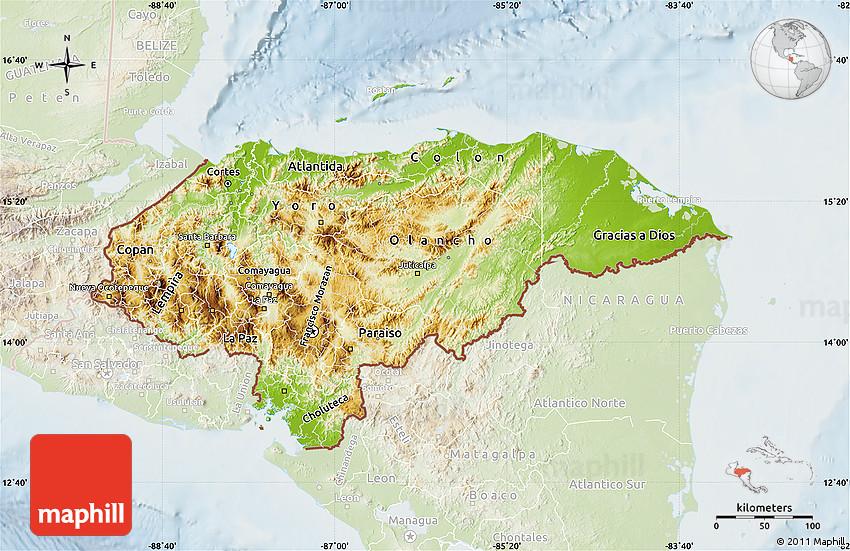 Physical Map of Honduras lighten