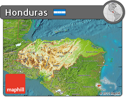 Free Physical Map of Honduras satellite outside