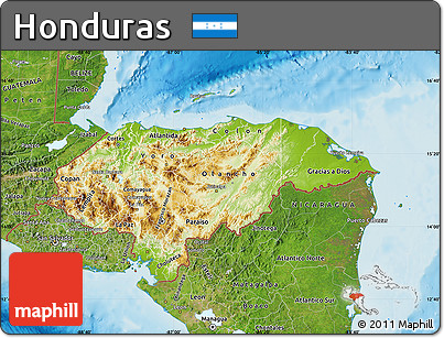 Free Physical Map of Honduras satellite outside shaded relief sea