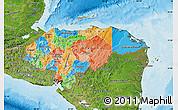Political Map of Honduras, satellite outside, bathymetry sea