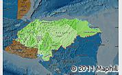 Political Shades Map of Honduras, darken