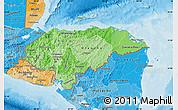 Political Shades Map of Honduras
