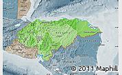 Political Shades Map of Honduras, semi-desaturated