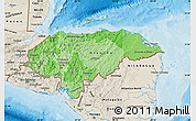 Political Shades Map of Honduras, shaded relief outside, bathymetry sea