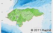 Political Shades Map of Honduras, single color outside