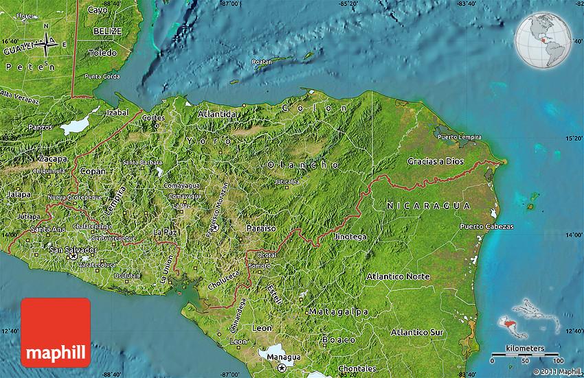 Satellite Map Of Honduras - Map of honduras