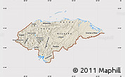 Shaded Relief Map of Honduras, cropped outside