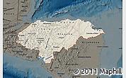 Shaded Relief Map of Honduras, darken