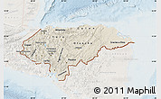 Shaded Relief Map of Honduras, lighten