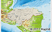 Shaded Relief Map of Honduras, physical outside