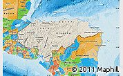 Shaded Relief Map of Honduras, political outside, shaded relief sea