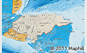 Shaded Relief Map of Honduras, political shades outside, shaded relief sea