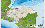 Shaded Relief Map of Honduras, satellite outside, shaded relief sea