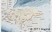 Shaded Relief Map of Honduras, semi-desaturated