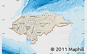 Shaded Relief Map of Honduras, single color outside