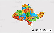 Political 3D Map of Ocotepeque, single color outside