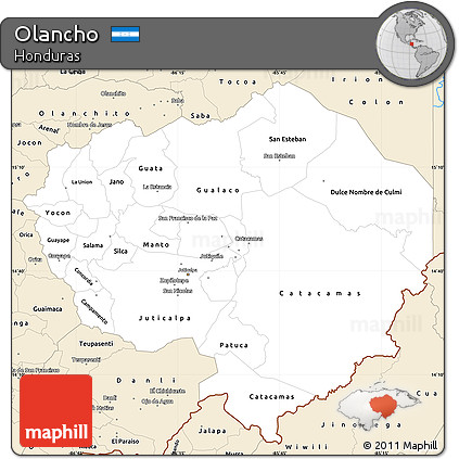 Classic Style Simple Map of Olancho
