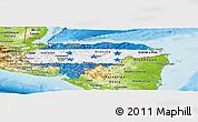 Flag Panoramic Map of Honduras, physical outside
