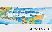 Flag Panoramic Map of Honduras, political outside