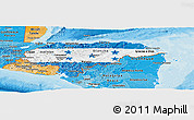 Flag Panoramic Map of Honduras, political shades outside