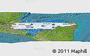 Flag Panoramic Map of Honduras, satellite outside