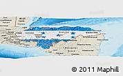 Flag Panoramic Map of Honduras, shaded relief outside