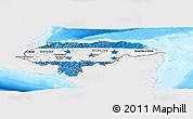 Flag Panoramic Map of Honduras, single color outside, bathymetry sea