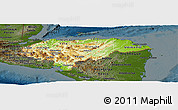 Physical Panoramic Map of Honduras, darken