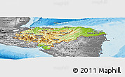 Physical Panoramic Map of Honduras, desaturated, land only
