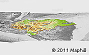 Physical Panoramic Map of Honduras, desaturated
