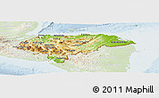 Physical Panoramic Map of Honduras, lighten