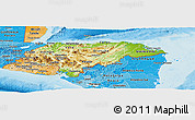 Physical Panoramic Map of Honduras, political shades outside, shaded relief sea