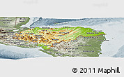 Physical Panoramic Map of Honduras, semi-desaturated