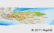 Physical Panoramic Map of Honduras, shaded relief outside