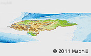 Physical Panoramic Map of Honduras, single color outside