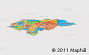 Political Panoramic Map of Honduras, cropped outside