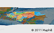 Political Panoramic Map of Honduras, darken