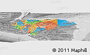 Political Panoramic Map of Honduras, desaturated