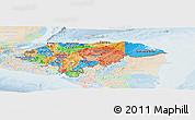 Political Panoramic Map of Honduras, lighten