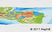 Political Panoramic Map of Honduras, physical outside