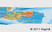 Political Panoramic Map of Honduras, political shades outside