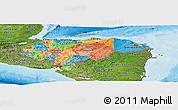 Political Panoramic Map of Honduras, satellite outside, bathymetry sea