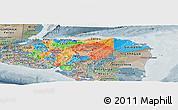 Political Panoramic Map of Honduras, semi-desaturated