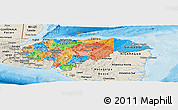 Political Panoramic Map of Honduras, shaded relief outside, bathymetry sea