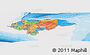 Political Panoramic Map of Honduras, single color outside