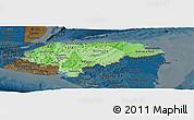 Political Shades Panoramic Map of Honduras, darken