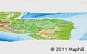 Political Shades Panoramic Map of Honduras, physical outside