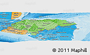 Political Shades Panoramic Map of Honduras
